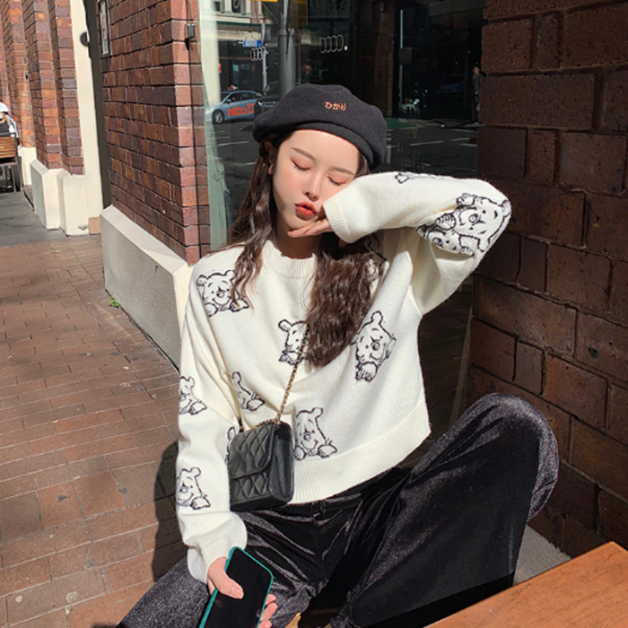 Covering Yarn Knitted Sweater Women Fall 2019 Korean Style Kawaii Cartoon Winnie The Pooh Pullover Black White Knitwear