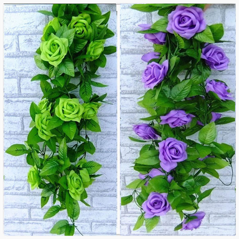 Artificial Silk Roses Fake Creeper Green Leaf Ivy Vine For Home Wedding Decora Wholesale Diy Hanging Garland Artificial Flowers