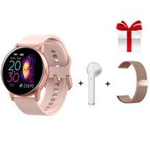 ساعة ذكية es النساء السيدات اللياقة البدنية ساعة ذكية مستديرة امرأة مراقب معدل ضربات القلب مقاوم للماء IP68 جهاز تذكير بالرسائل القصيرة والمكالمات ل IOS أندرويد