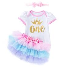 1st 2nd на день рождения вечерние платье юбка-пачка для малышей торт; Одежда для маленьких детей; Платья для маленьких девочек Одежда для девоч...