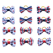 100pcs Dog Bows Red White Blue Pet Dog Hair Accessories Hand made Independence Day Pet Dog Bow Rubber Bands Pet Shop