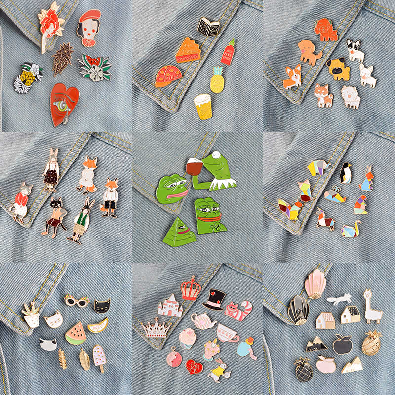 Nona Zoe 4 ~ 14 Pcs/set Kartun Enamel Pin Set Dongeng Bros Mantel Denim Ransel Kerah Pin Lencana Lucu hewan Perhiasan Hadiah