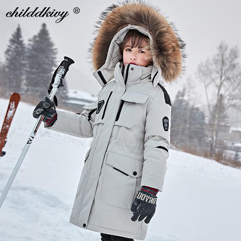 Детская пуховая куртка для русской зимы-35 градусов, парка для девочек, пальто для маленьких мальчиков Лыжный костюм детский зимний комбинез...
