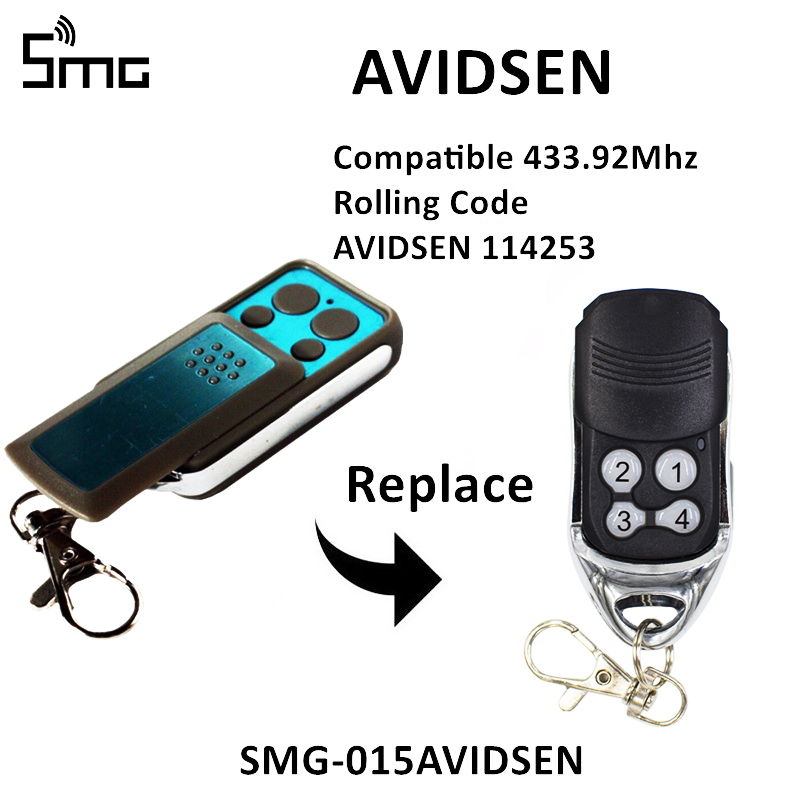 For AVIDSEN 114253 104251 104250 104257 104350 Garage Door Opener 4 Channel 433.92mhz Remote Control Rolling Code Key Fob