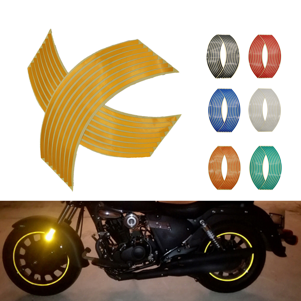 Motorcycle Wheel Sticker 3D Reflective Rim Tape Auto Decals Strips For <font><b>Yamaha</b></font> <font><b>XMAX</b></font> 125 250 <font><b>400</b></font> 300 VMAX VMAX 1700 1200 NMAX 125 image
