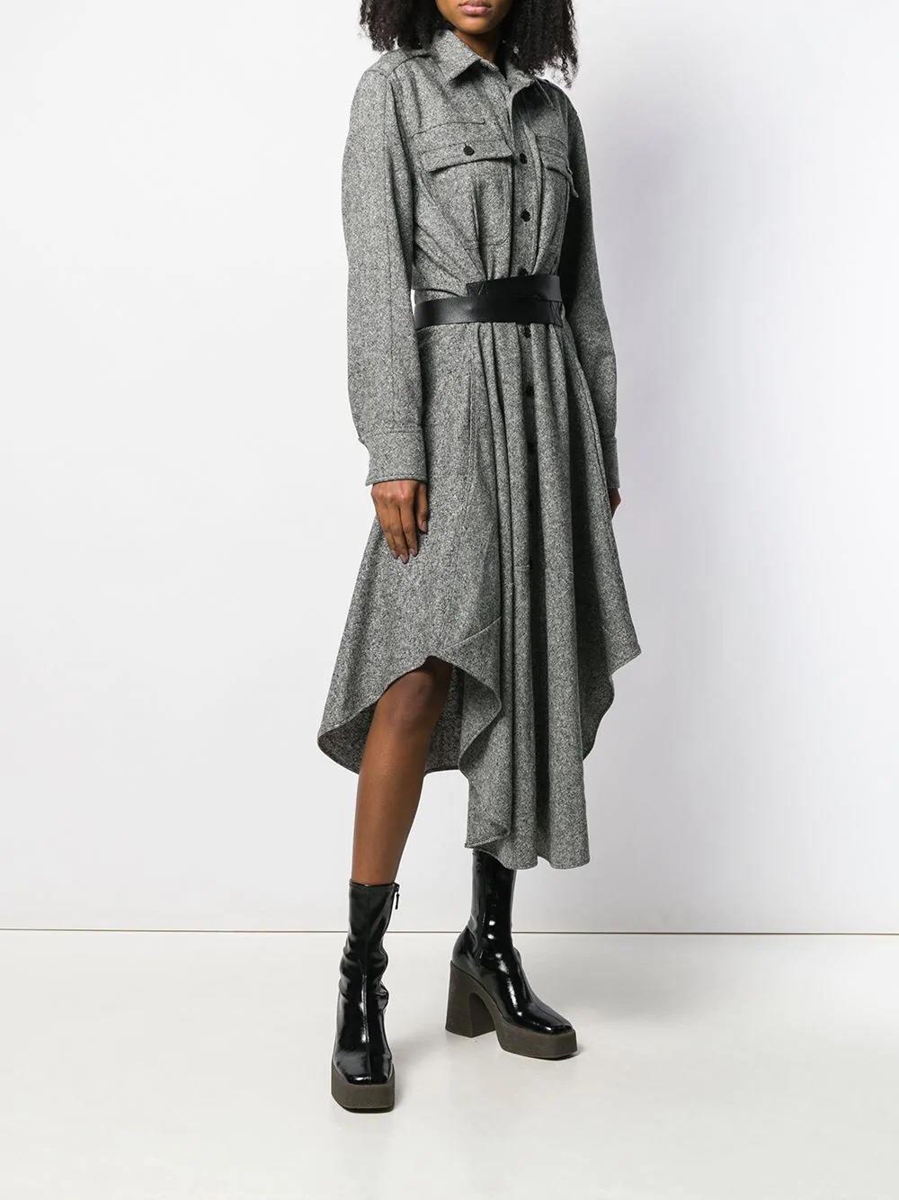 긴 소매 드레스 트렌치 코트 스타일 가죽 벨트 디자인 울 혼합 직물 맞춤-에서티셔츠부터 여성 의류 의  그룹 1