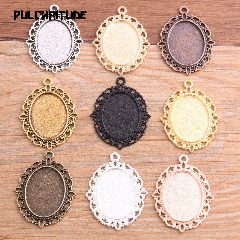 Base-Setting Charms-Pendant Oval Cabochon Jewelry-Making for Diy 6pcs Inner-Size Classical-Style