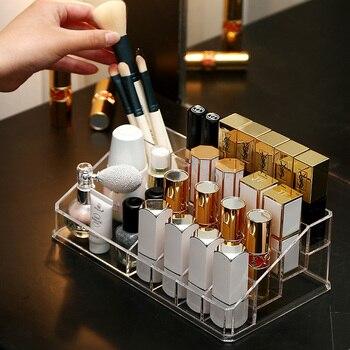 Caja de almacenamiento de cosméticos con 16 rejillas, organizador de barras de labios, maquillaje cepillo Pantalla de lápiz de cejas soporte acrílico caja de plástico acabado de escritorio