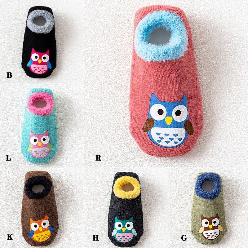 New Autumn Winter Baby Socks Casual Fashion Children Floor Socks Cute Cartoon Owl Non-Slip Cotton Kids Slippers