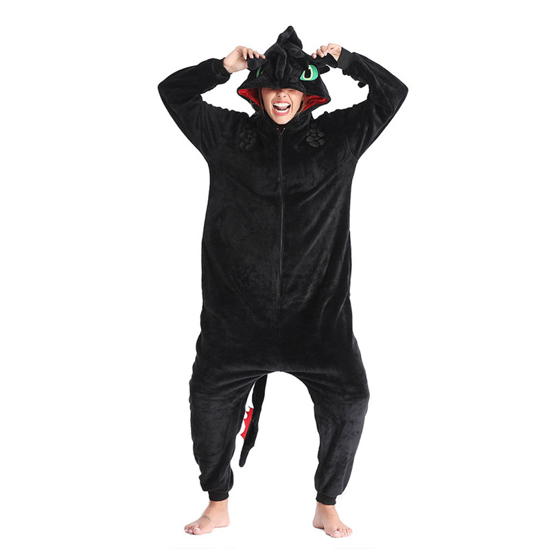 Animal Kigurumis Onesies Homewear Adult Cartoon Toothless Dragon Women Pajama Rompers Unisex Flannel Sleepwear Onesie Jumpsuit