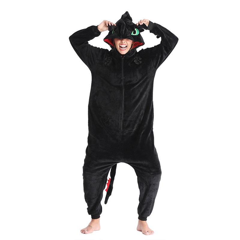 Animal Kigurumis Onesies Homewear Adult Cartoon Toothless Dragon Women Pajama Rompers Unisex Flannel Sleepwear Onesie Jumpsuit