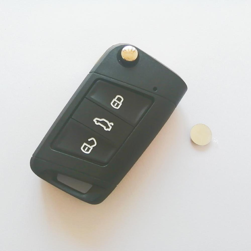 With LOGO Car Styling 3 Buttons Modified Folding Flip <font><b>Remote</b></font> Car <font><b>Key</b></font> Cover Case Fob For VW <font><b>Golf</b></font> <font><b>7</b></font> GTI MK7 Skoda Octavia A7 Seat image