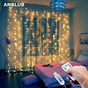 3M kurtyna LED Garland na oknie łańcuchy świetlne USB Fairy Festoon z pilotem świąteczna dekoracja na Ramadan dla domu tanie i dobre opinie ANBLUB CN (pochodzenie) ROHS 1 year CHRISTMAS Z tworzywa sztucznego None Żarówki LED Brak Klin 300cm 1-5 m WHITE MULTI
