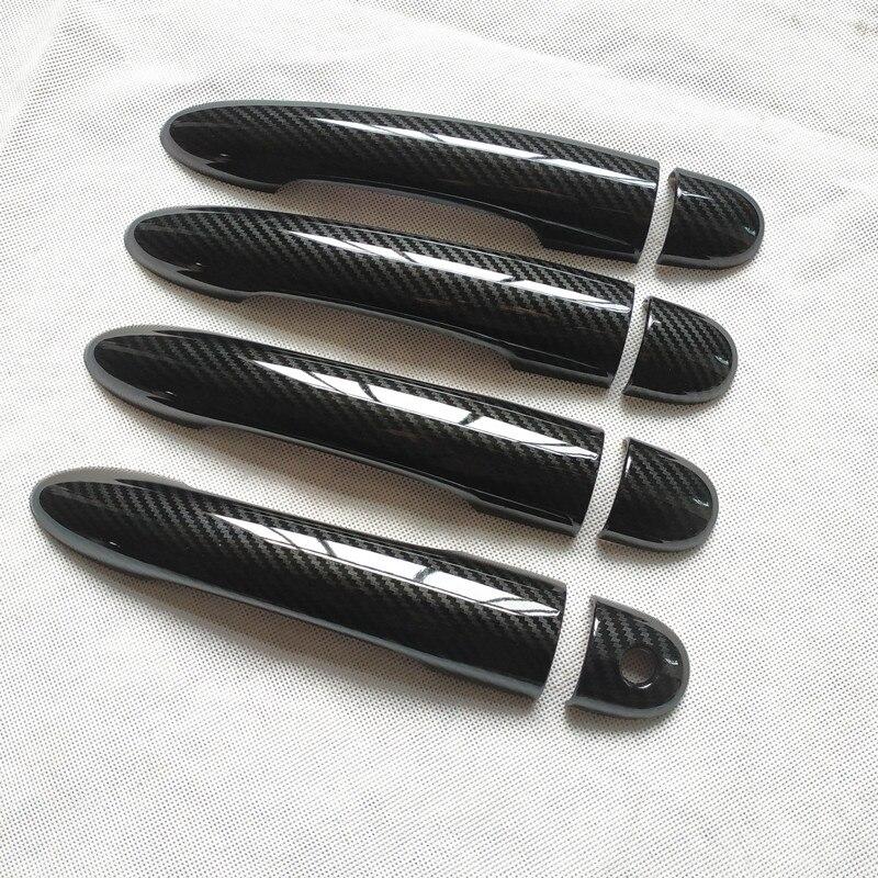 Para Renault Clio 3 iii mk3 accesorios manija de puerta cubierta embellecedor manijas cubre plástico imitación de carbono fibra