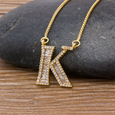 Luxury Gold Color A-Z 26 Letters Necklace CZ Pendant for Women Cute  Initials Name Necklace Fashion Party Wedding Jewelry Gift 28