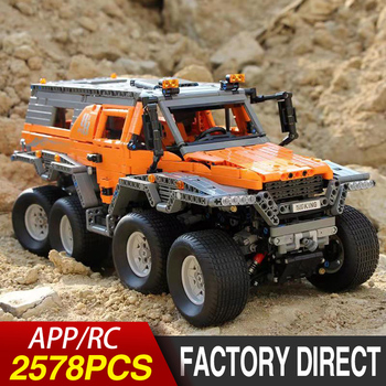 APP RC Car Technic Series Off-road Vehicle with Power Motor Set Compatible Lepining 23011 Building Blocks Bricks Model Kid Toys lepin 20009 1977pcs technic series the tractor model building blocks bricks compatible with 42054 boy s favourite