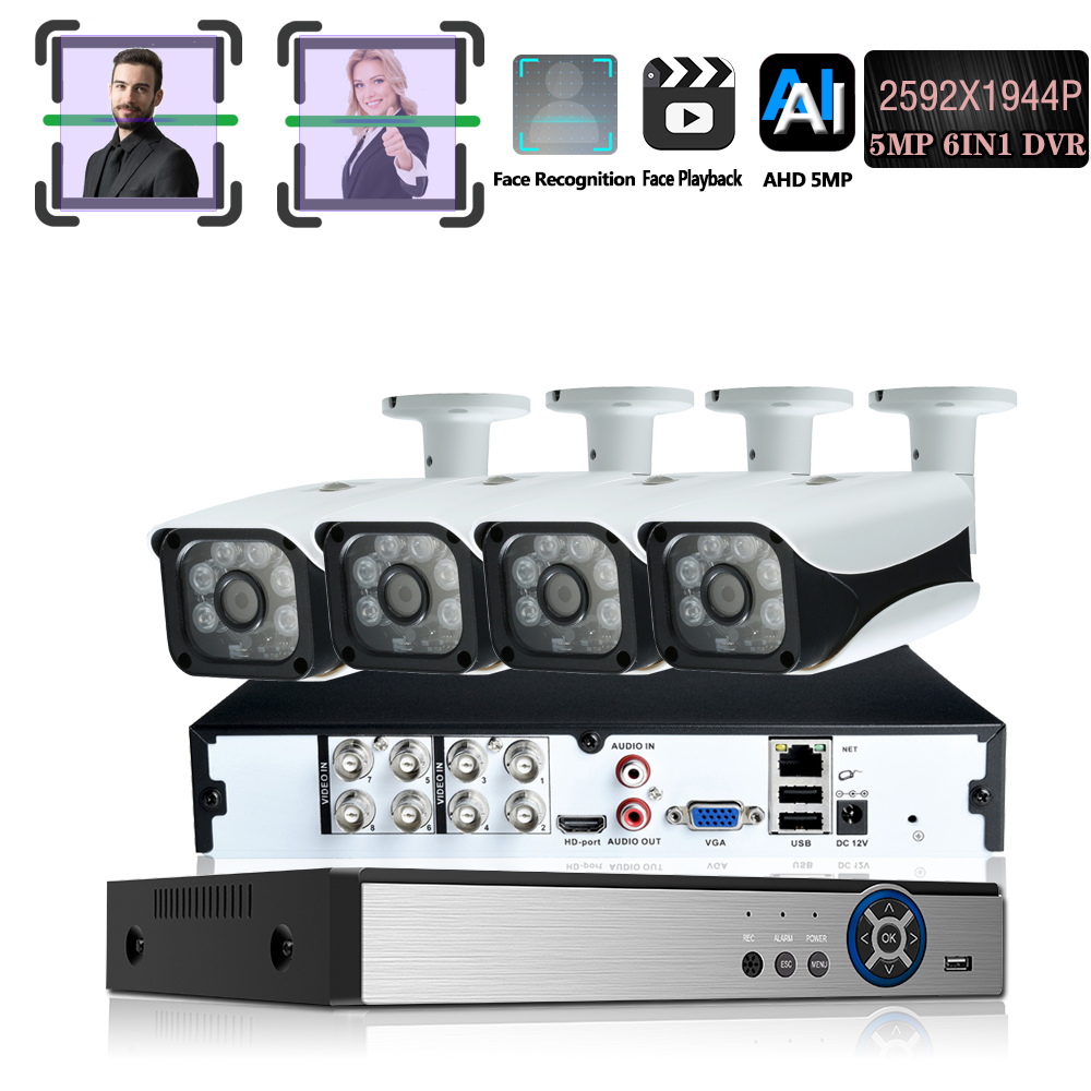 H.265 + 8CH 5MP 6in1 Gesicht Rekord DVR Sicherheit AHD Kamera System Kit UHD 2592*1944P Wasserdichte CCTV video Überwachung koaxial Set