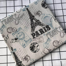 Tower Printed Cotton Linen Fabric 100% Pure DIY Sewing Patchwork Canvas Material Home Textile Decorate Cloth