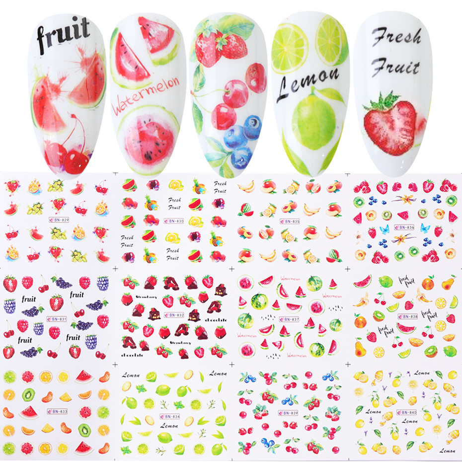 12 шт фруктовые наклейки для ногтей лимон, клубника, арбуз, слайдер для переноса воды, дизайн ногтей, TRBN829-840-1