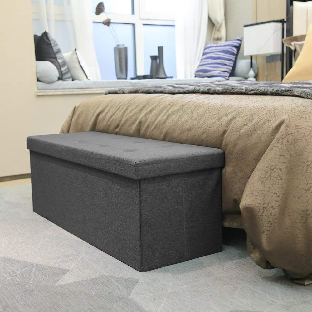 Fabric Folding Storage Coffee Table Foot Stool Sponge Bench Sofa Chair Rectangular Bed End Stool Ottomans Pouf Storage