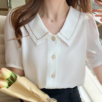 Blusas Blouses Femme Tops Women Turn Down Collar Blouse Women 2021 Summer White Blouse Short Sleeve Chiffon Blouse Shirt E778 1