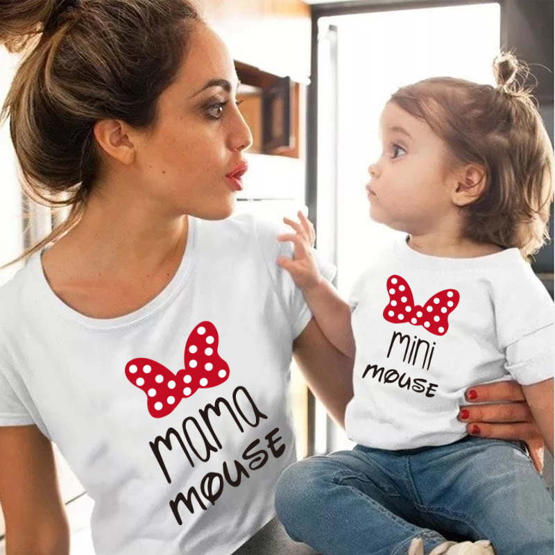 H6bc797cd9f1e4727bfbfff757b39b836H - MAMA and mini Family Matching clothes Cotton kawaii bow tshirt mommy and me clothes  Tops baby girl clothes matching outfits