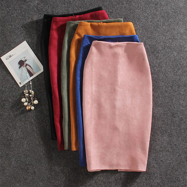 2019 Women Skirts Suede Split Thick Stretchy Skirt Female Pencil Skirts Plus Size Jupe Femme Faldas Mujer