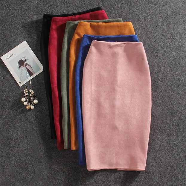 2019 נשים חצאיות זמש פיצול עבה נמתח חצאית נקבה עיפרון חצאיות בתוספת גודל נהיגה לראשונה חצאית Femme Faldas Mujer
