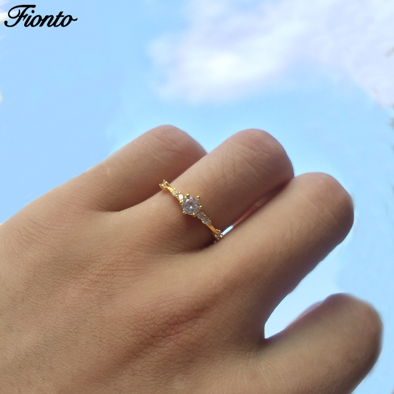 FIONTO Fashion Rings Gold Small Broken Fine Lady Engagement Ring Jewelry Cross-border Burst Accessories CA3051/5