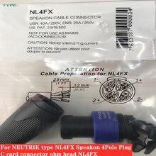60Pcs/Lot For Neutrik NL4FX four core audio plug 4 core professional speaker amplifier speaker cable c card connector ohm head