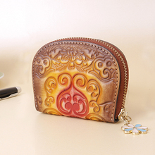 Aztec Embossed Cow Leather Cards Holder Women Small Genuine Leather Tribal Ethnic Ibiza Coin Purse Female Cowhide Card Wallet