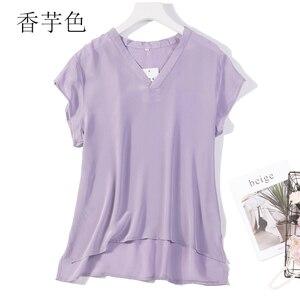 100% camisa de manga curta de seda pura feminina blusa listras brancas tamanho l xl 2xl jn197