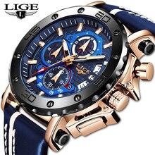 Mens Watches 2020 LIGE Top Brand Luxury Big Dial Quartz Watch Mens Military Spor