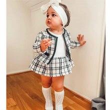 2020 novas crianças do bebê meninas conjuntos de roupas outono inverno xadrez casaco topos + vestido de festa de casamento roupas crianças 0-6y