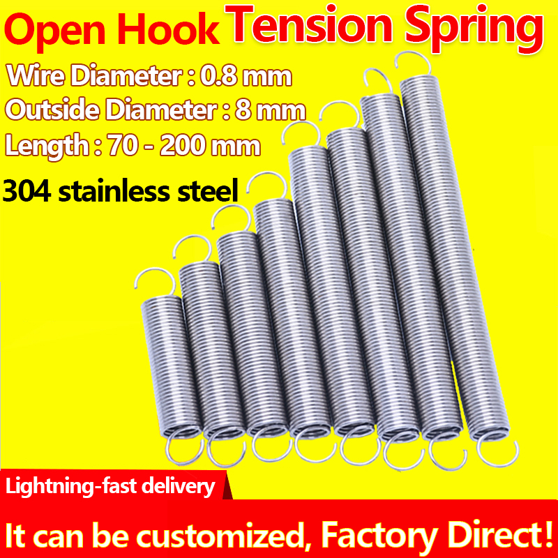 304 Stainless Steel Extension Spring Pullback Spring Draught Spring Wire Diameter 0.8mm Outer Diameter 8mm Tension Spring