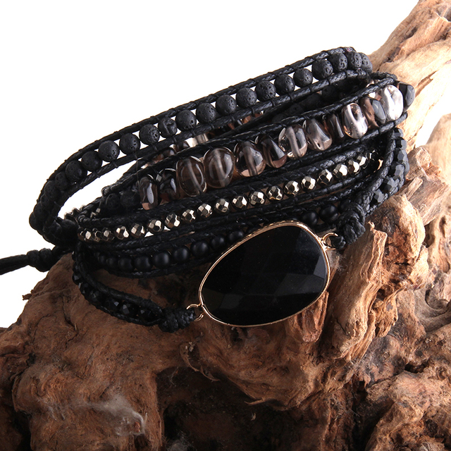 RH Fashion Handma pulsera Bohemia con piedras naturales 5 pulseras de tiras
