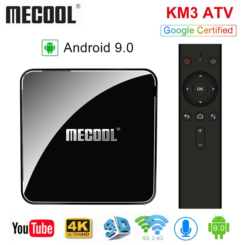 MECOOL KM3 Android 9.0 commande vocale TV Box Google certifié 4GB 64GB 128GB Amlogic S905X2 2.4G & 5G WiFi Bluetooth 4.1 USB 3.0