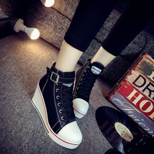 Women's Canvas Shoes Korean Side Zipper 8cm Height Increased