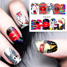 цена на Fashion Art Designs Decal DIY Water Transfer Nail Art Sticker Nail Accessories Cool Girl Lips Decorations Full Wraps Nails