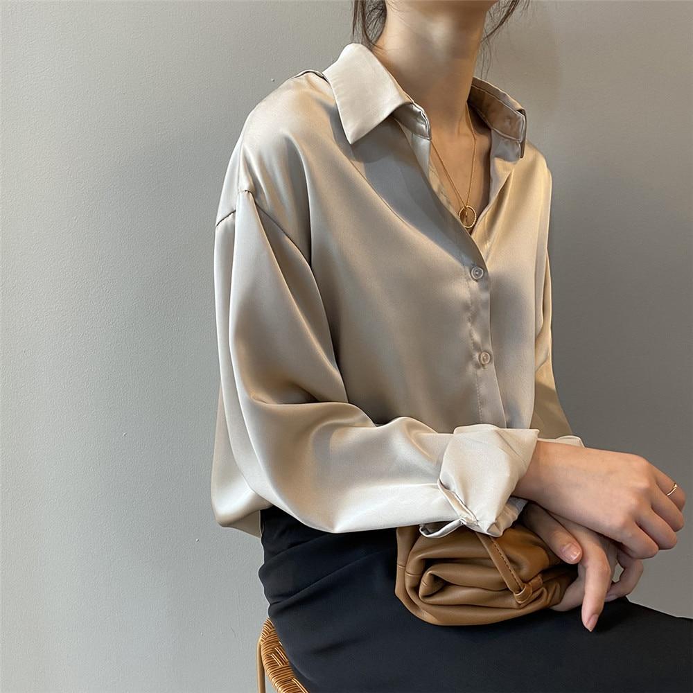 High quality Women Silk Satin Blouse 2020 Summer Women Satin Blouses Shirt Office Long Sleeves Femme V Neck Loose Street Shirts (23)