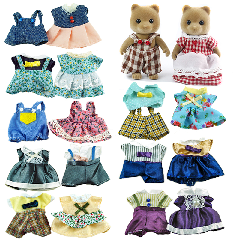 Miniature 1/12 Forest Animal Family House Children's Simulation Toy Rabbit Clothes 9 Styles Girl Pretend Play Doll's Accessories