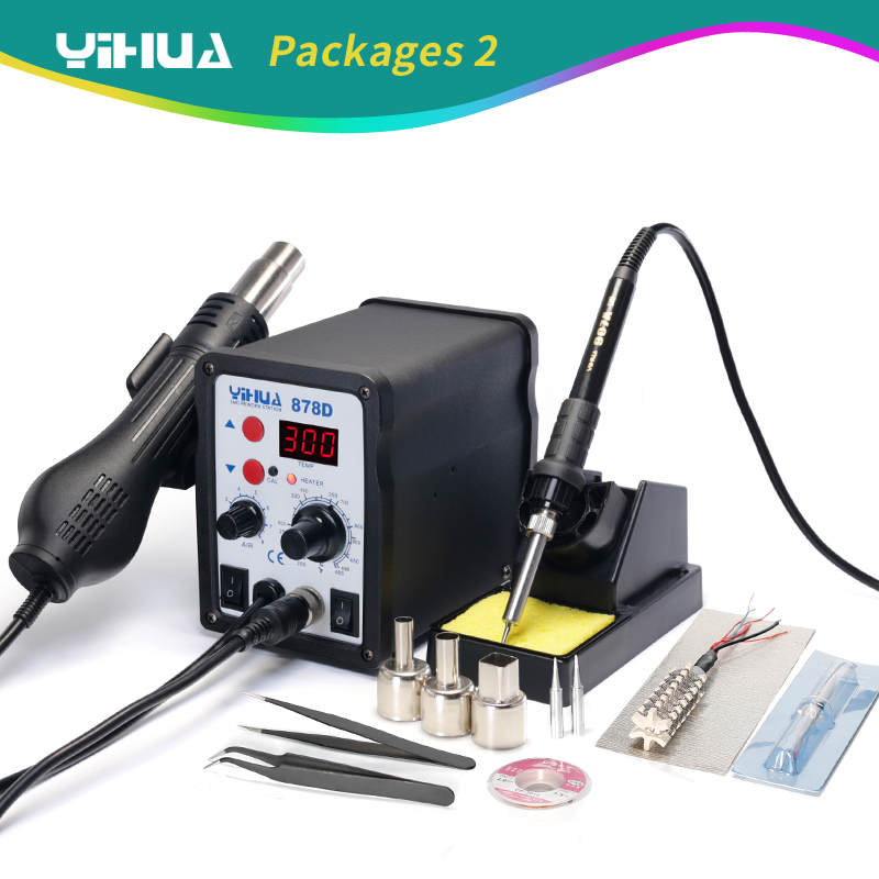 Free Shipping 220V 110V Optional YIHUA 878D Hot Air Gun Soldering Station With 907A Soldering Iron Station