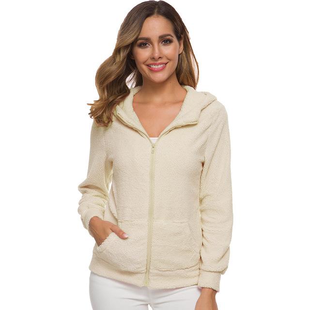 WOMEN'S Autumn And Winter Coat Zipper Pocket Hooded Teddy Coat  Fur Plush Hoodie  Berber Fleece Warm Overcoat