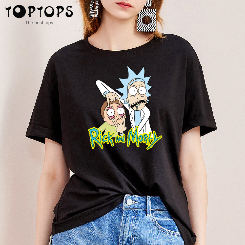 Women Rick And Morty Funny Cotton T Shirt Unisex Skateboard Christmas Tshirt Female Girl Clothes Streewear Shirt