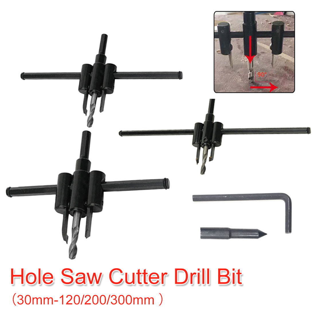 Alloy Adjustable Circle Hole Cutter With Wood Hole Saw Metal Drill Bit Cutter Drill Tools For Woodworking 30mm-120/200/300mm