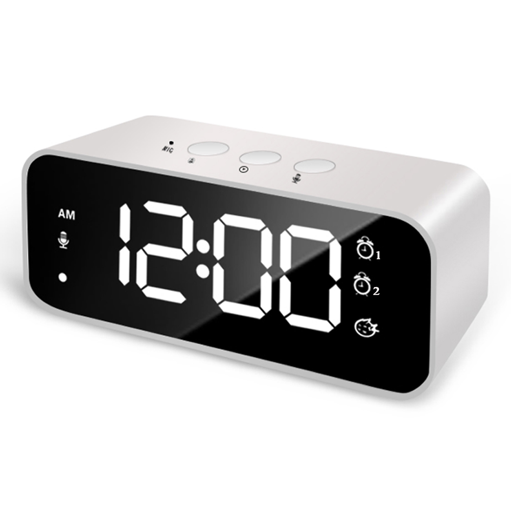 Rechargeable DIY Sound Recording LED Mirror Music Clock with Dual Alarms and Snooze Bedroom Decor Desk Table Phone Charger Clock(China)