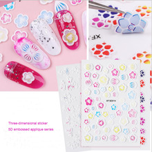 1pcs Three-dimensional relief sticker Style 5D Nail Stickers Stereo Transfer Decal 16 Types 3d Adhesive Nail Art Decorations direct continental carved three dimensional nail stickers nail sticker nail art stickers 3d nail stickers xf713