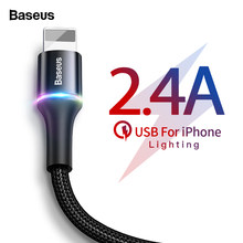 Baseus LED USB Cable For iPhone 11 Xs Max Xr X 8 7 6 6S 5 5S Fast Charging Data Wire Cord Charger Mobile Phone Cables(China)