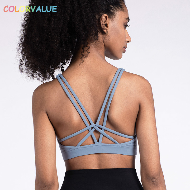 Colorvalue Naked-feel Fabric Push Up Workout Gym Bras Women Sexy Cross Straps Fitness Crop Tops Deep-V Neck Strappy Sports Bras