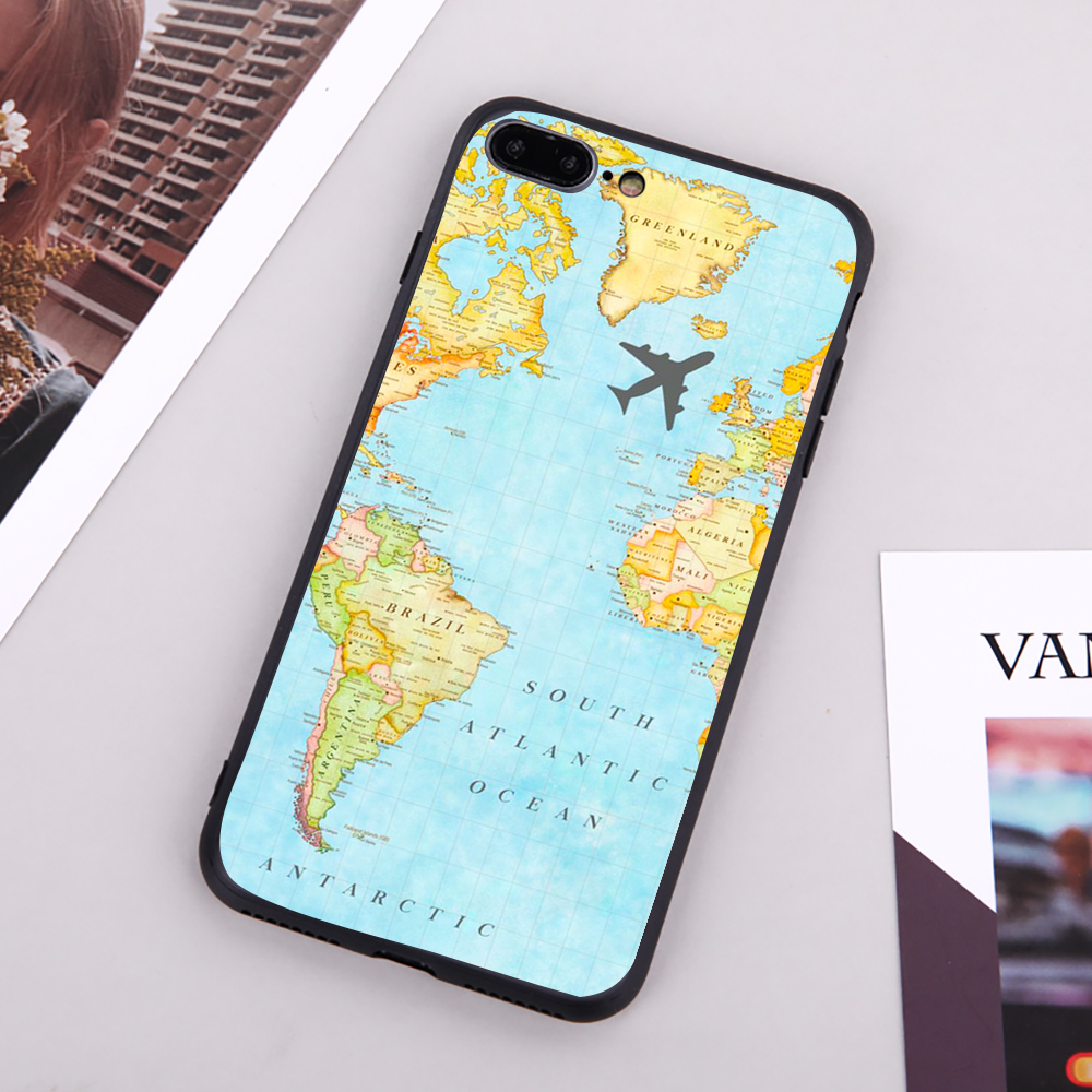 World Map Travel Phone Case Coque For iPhone11 pro XR XS Max 8 7 6 6S